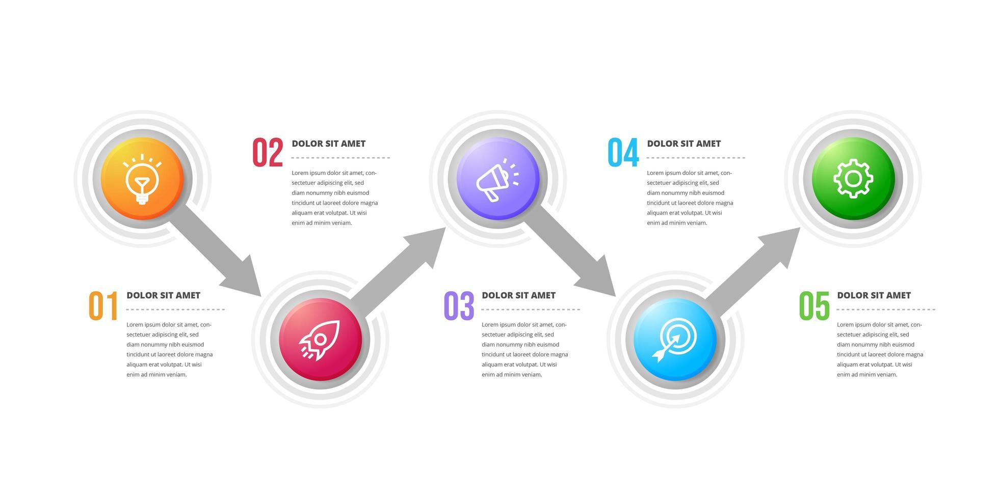 éléments de conception infographique circulaire créative vecteur