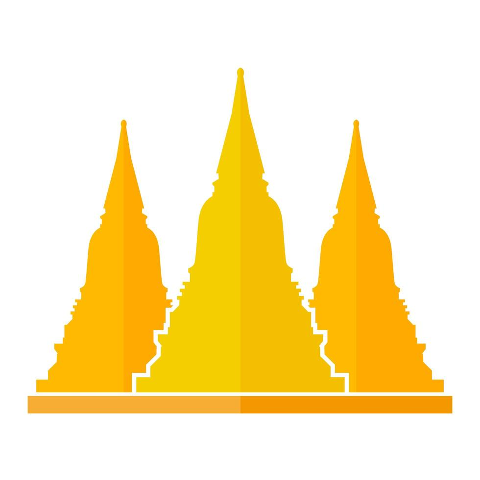 design plat de pagode d'or vecteur