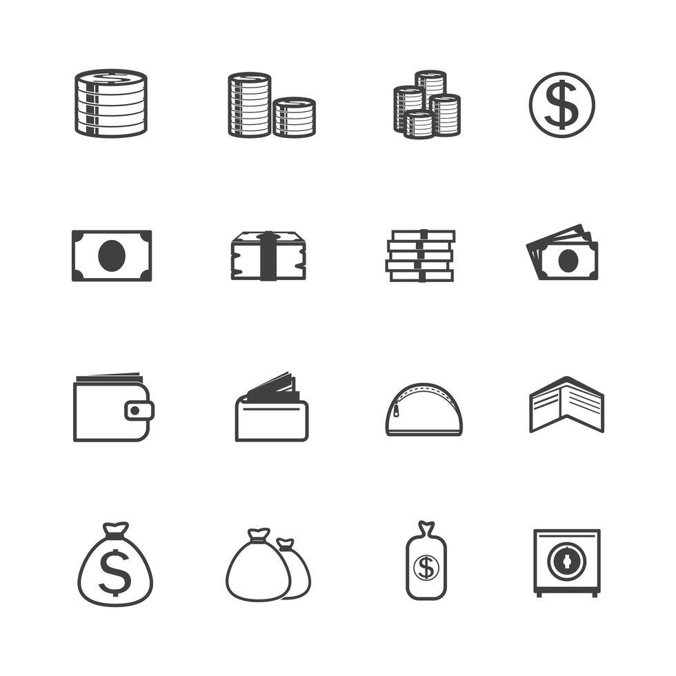 jeu d'icônes d'argent vecteur
