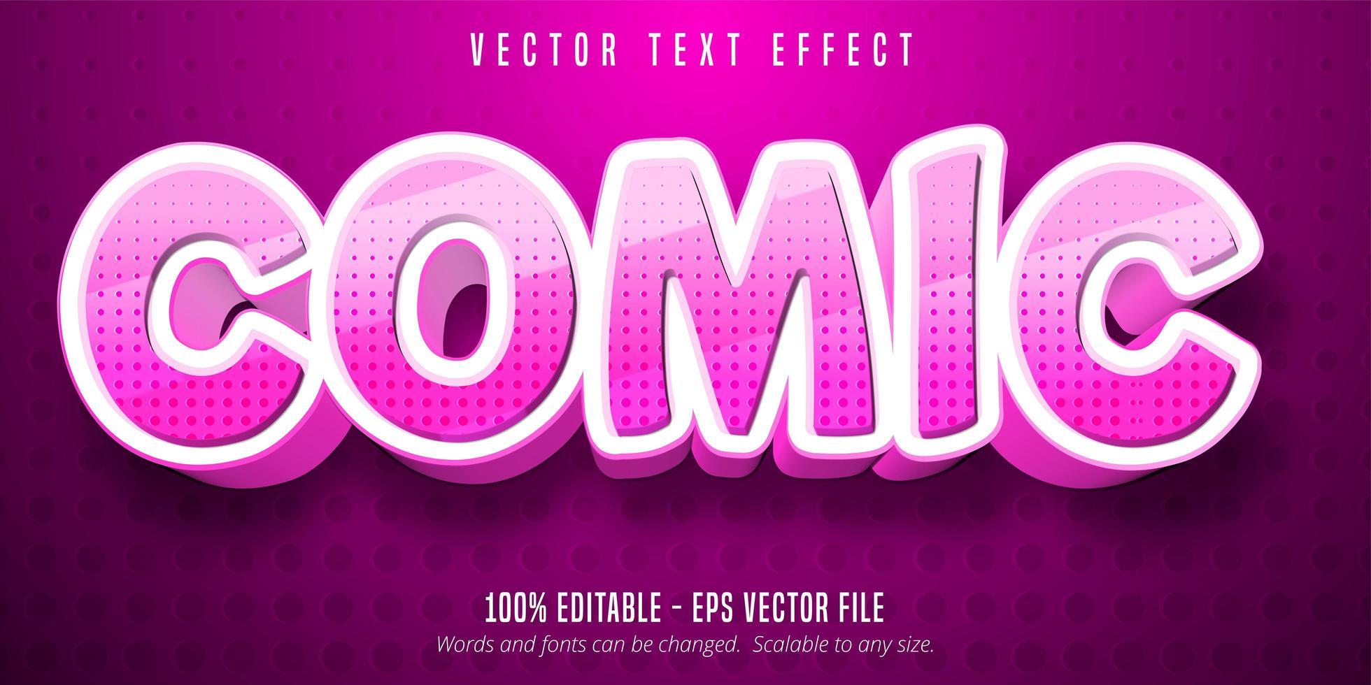 effet de texte modifiable de style dessin animé rose en pointillé vecteur