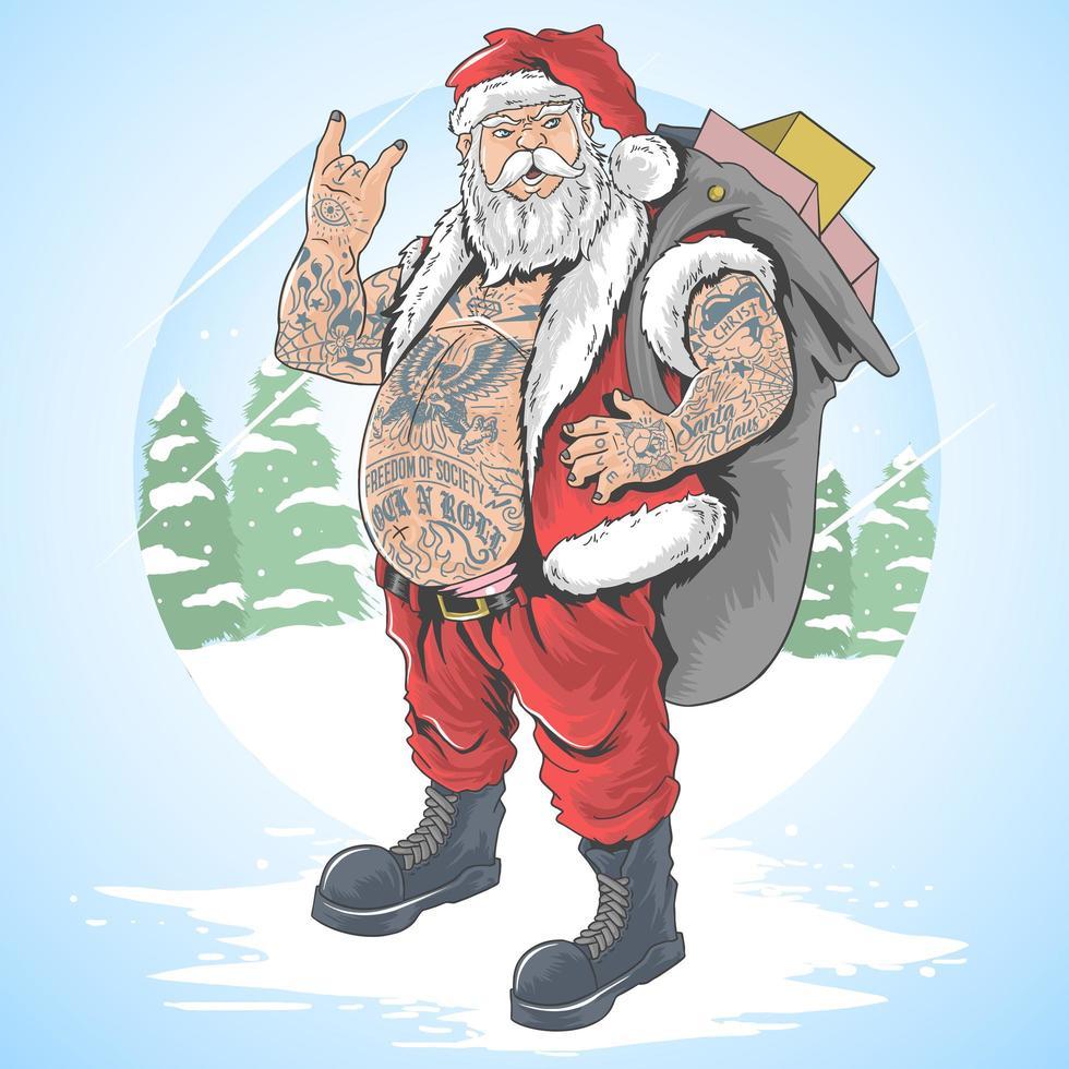 le père noël tatoué porte un sac cadeau vecteur