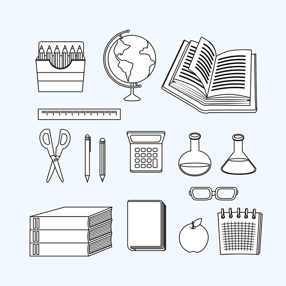 retour à l'école jeu d'icônes de travail en ligne vecteur