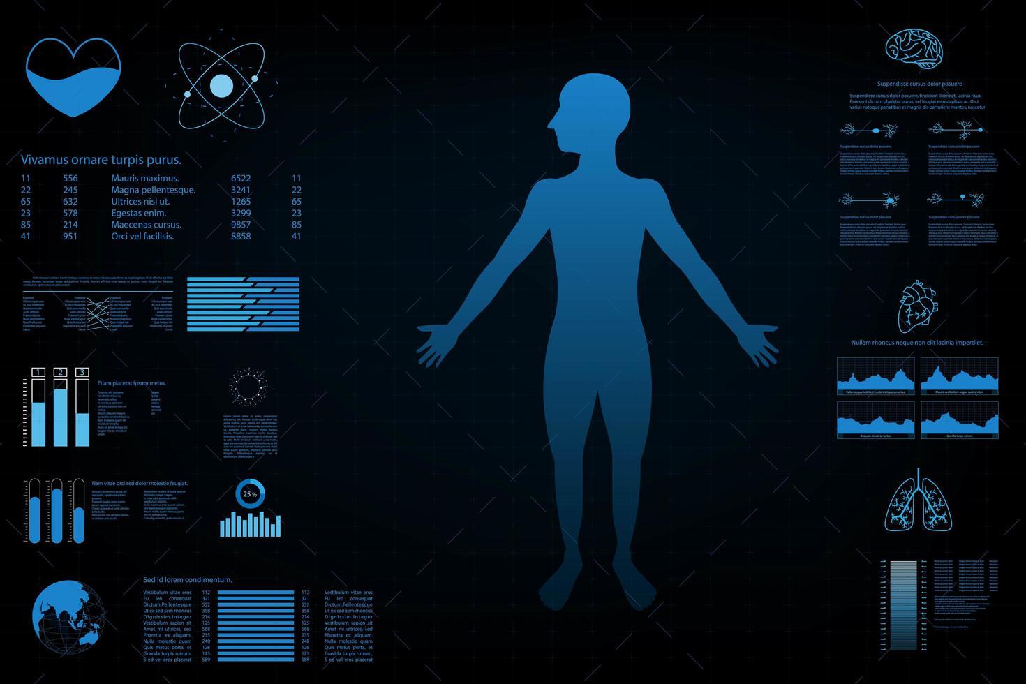 tableau de bord de données avec graphique et panneaux vecteur