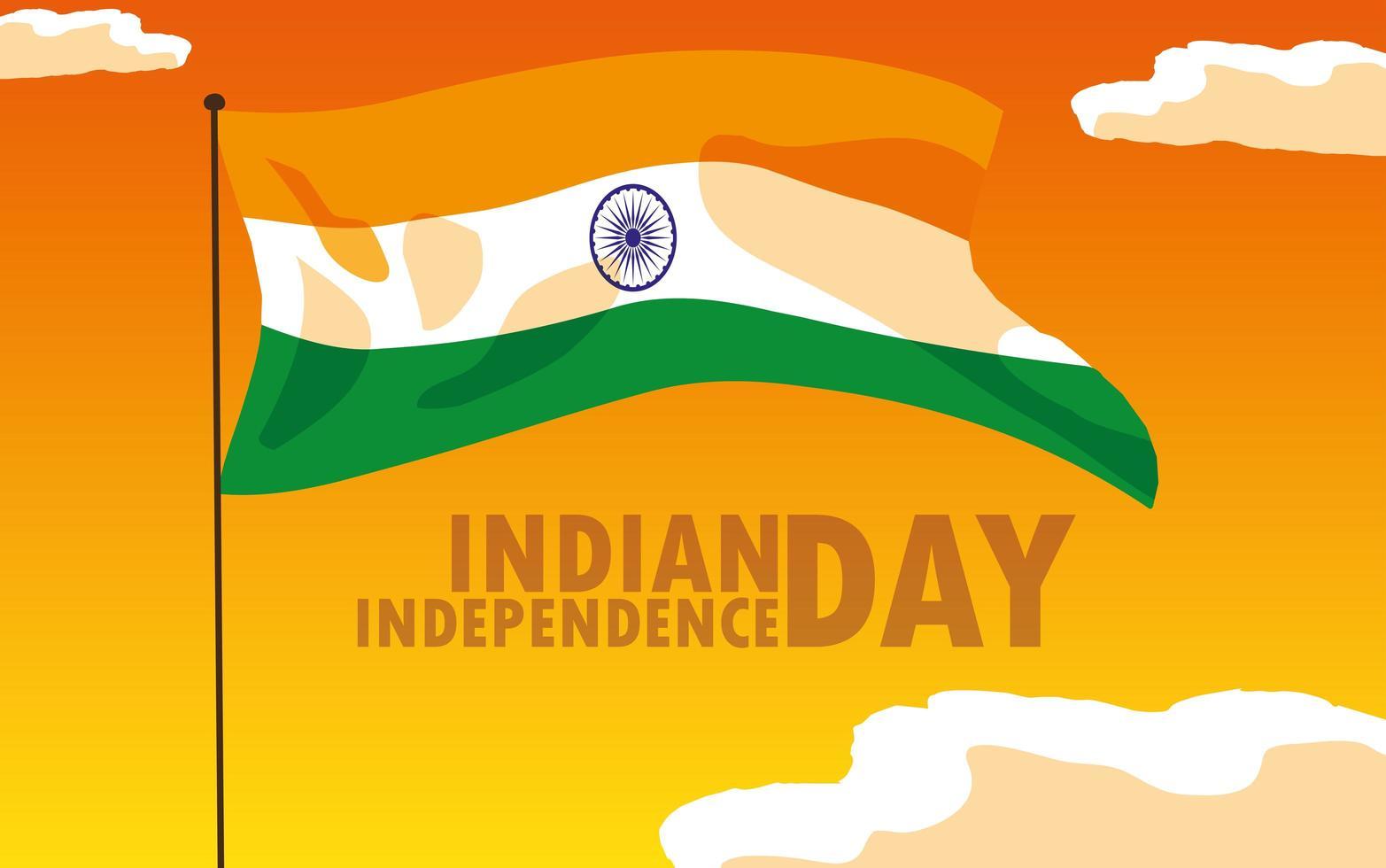 affiche de la fête de lindépendance indienne avec drapeau vecteur