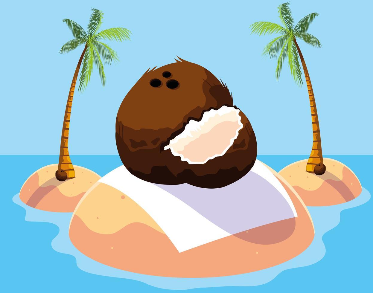 conception de fruits de noix de coco frais vecteur