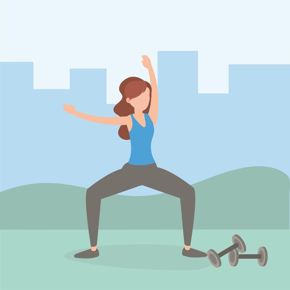 femme exerçant et faisant du yoga vecteur