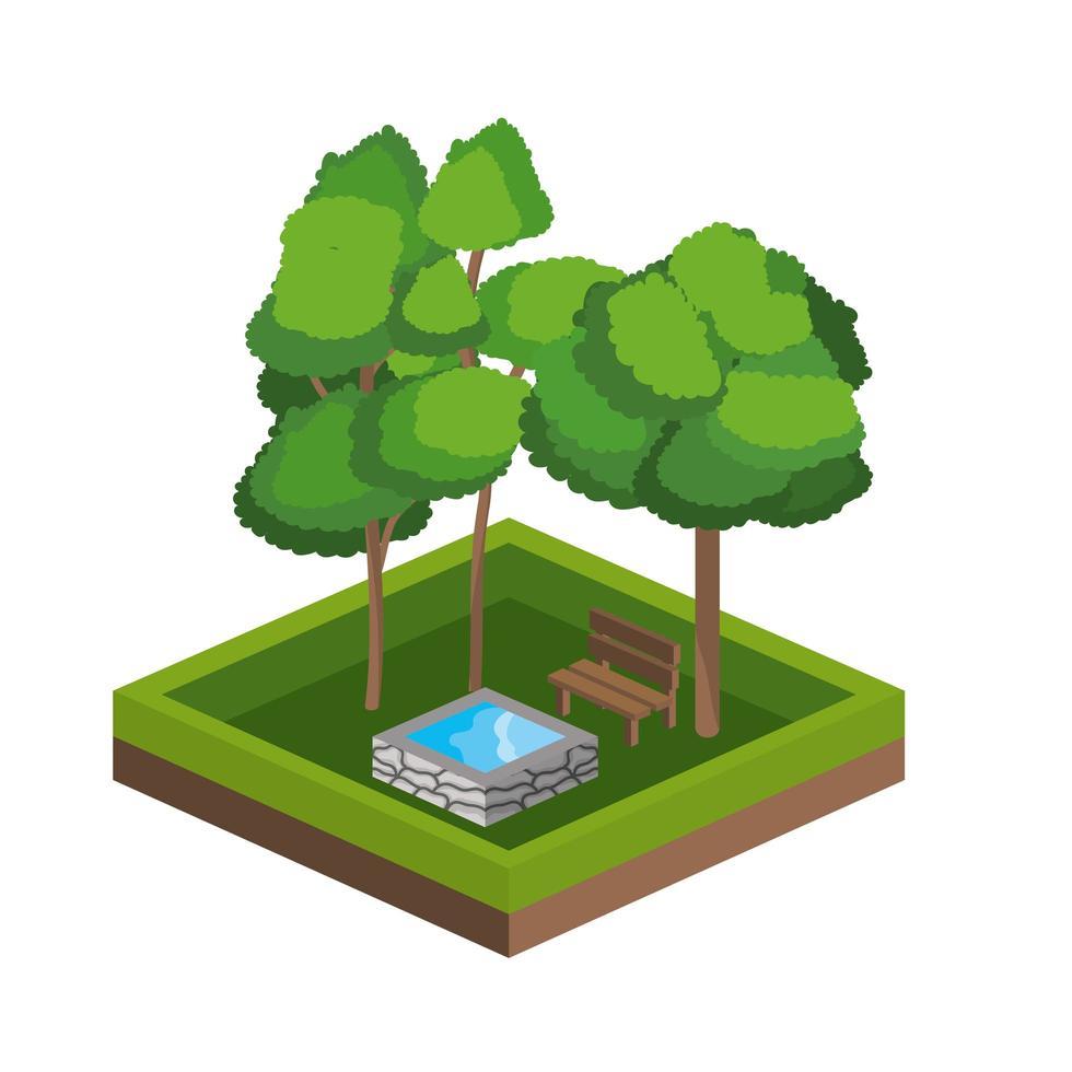 icône d'arbres isométriques et de source d'eau vecteur