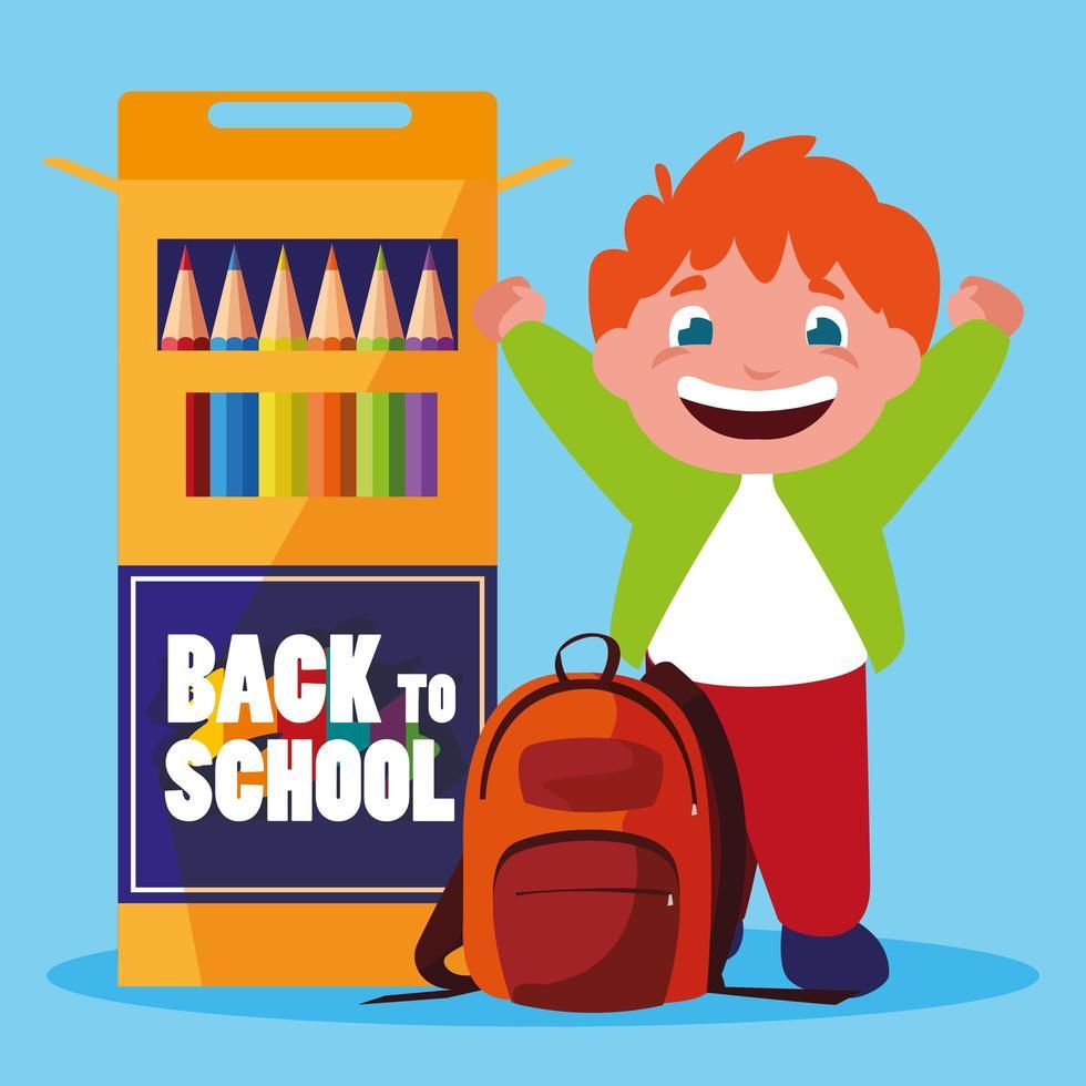 petit garçon étudiant avec des crayons de couleurs scolaires vecteur