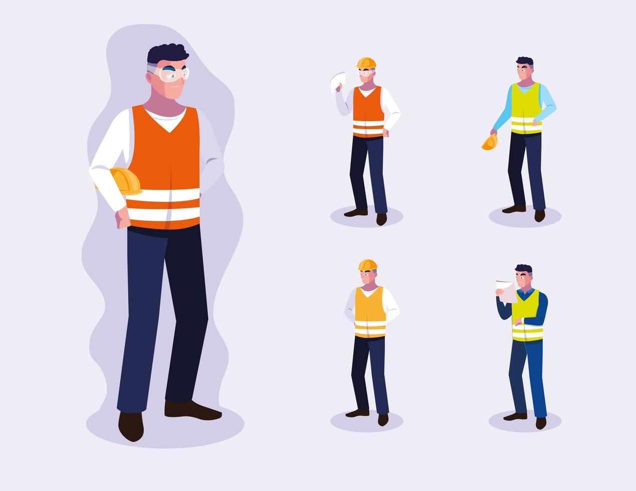 ensemble de conception de travailleurs professionnels masculins vecteur