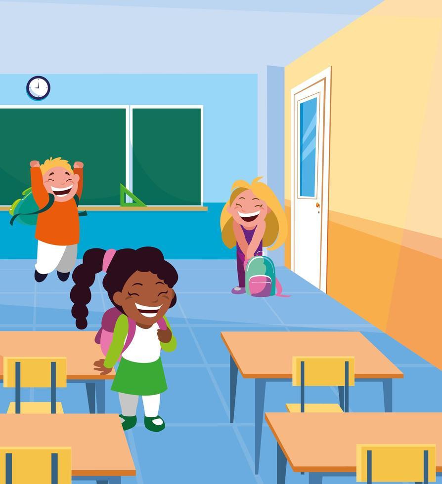 petits élèves enfants dans la salle de classe vecteur