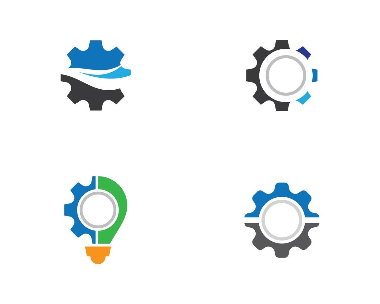 ensemble de conceptions de logo d'engrenage vecteur
