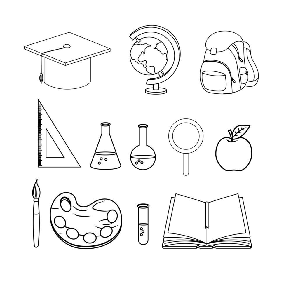 jeu d'icônes d'accessoires d'éducation et d'école vecteur