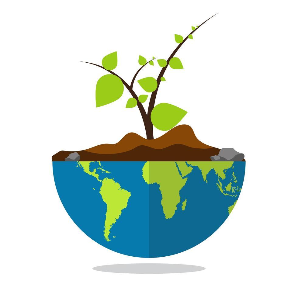 planète terre avec des plantes qui poussent vecteur