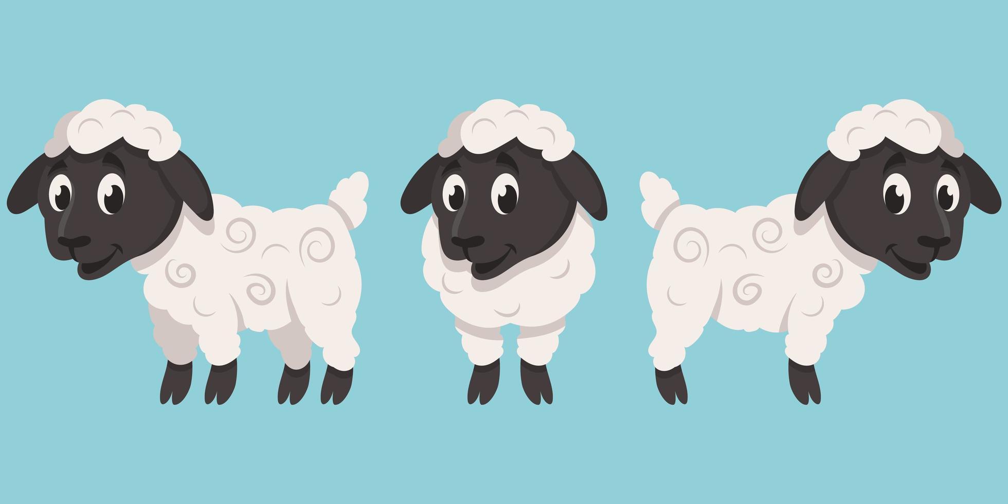 agneau dans différentes poses vecteur