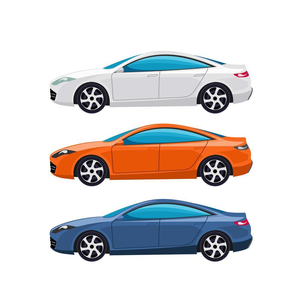 ensemble de voiture berline moderne blanc, orange et bleu vecteur