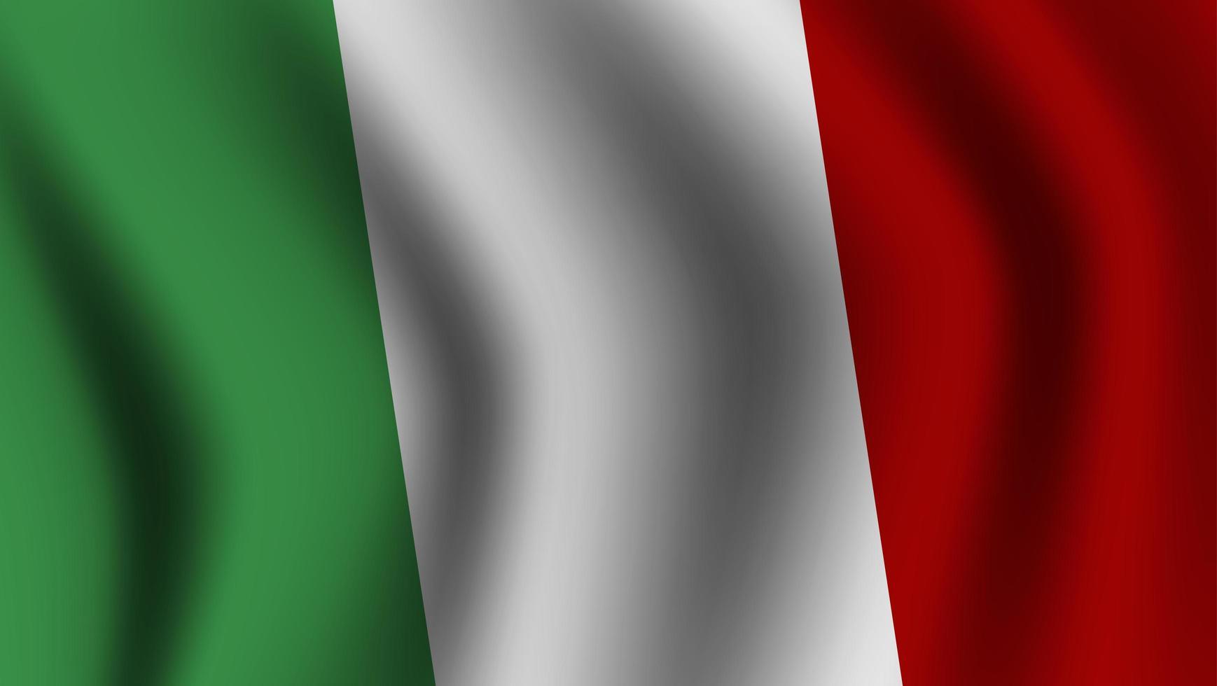 drapeau italien ondulant réaliste vecteur