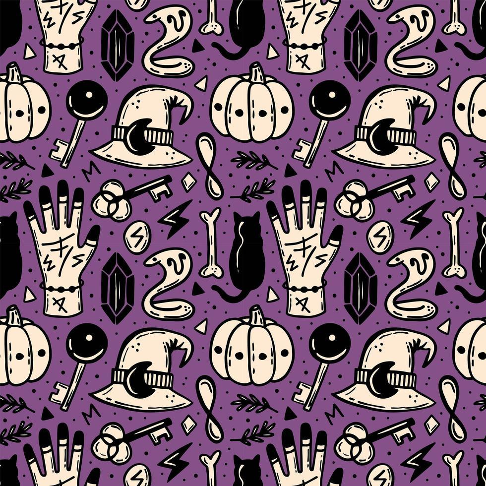 modèle sans couture halloween en violet, beige et noir vecteur