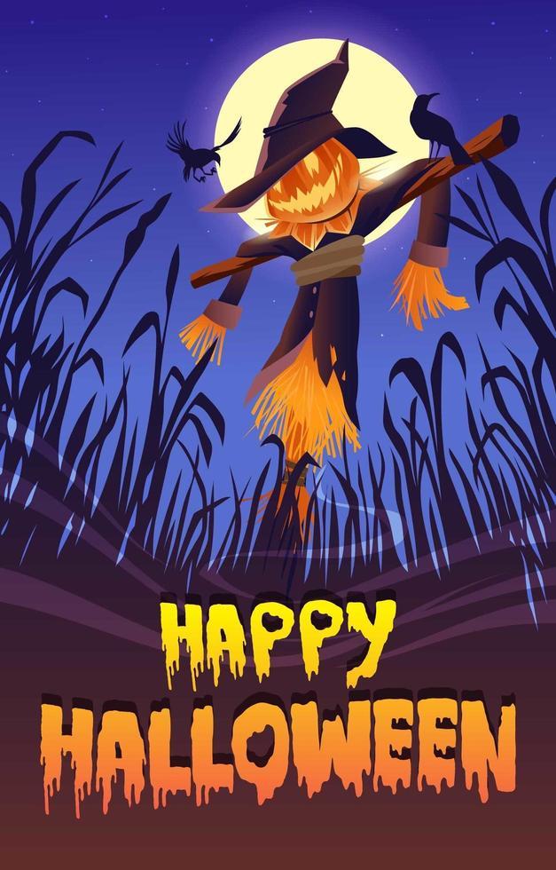 épouvantail dans la nuit d'halloween vecteur