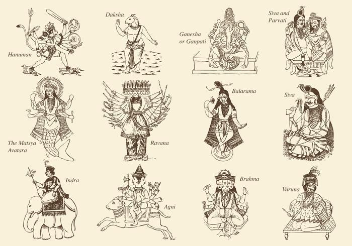 Hindouisme Dieux et déesse vecteur