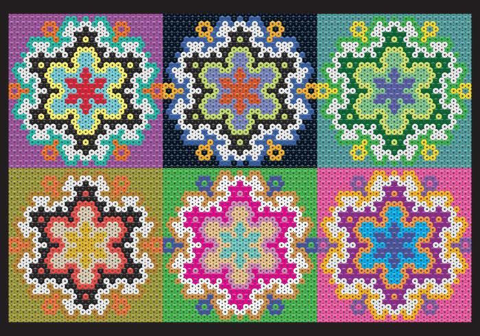 Huichol Patterns de fleurs vecteur