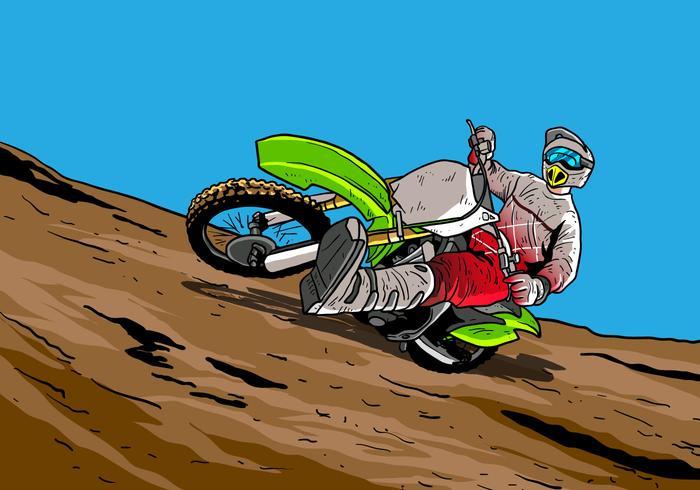 Vélos de saleté accélérant en chemin de terre vecteur