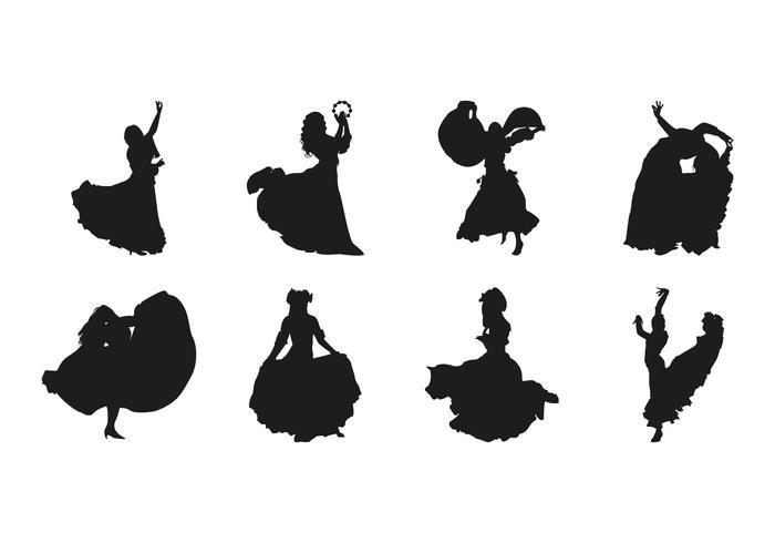 Vecteur libre de silhouettes de danse gipsy