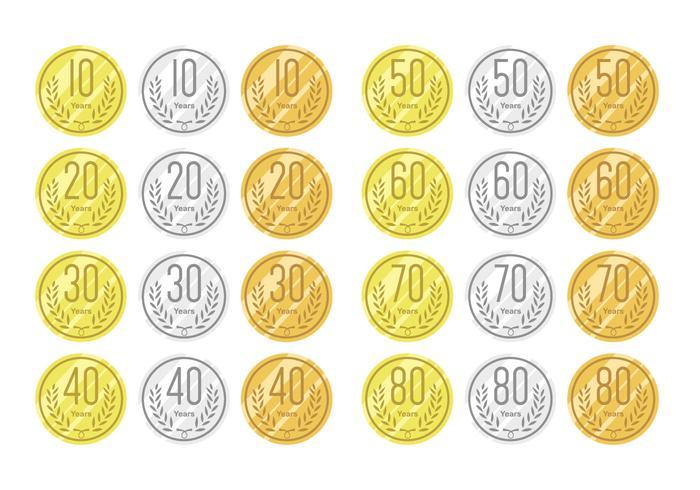 Anniversaire sur or argent et bronze vecteur