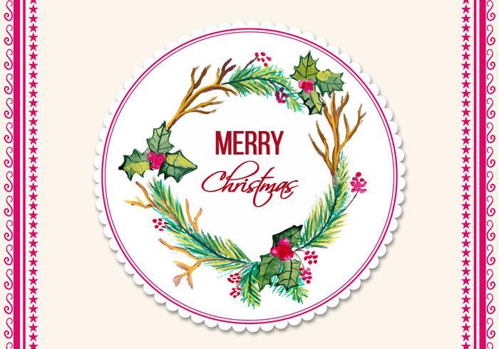 Cadre de Noël d'aquarelle vectoriel gratuit