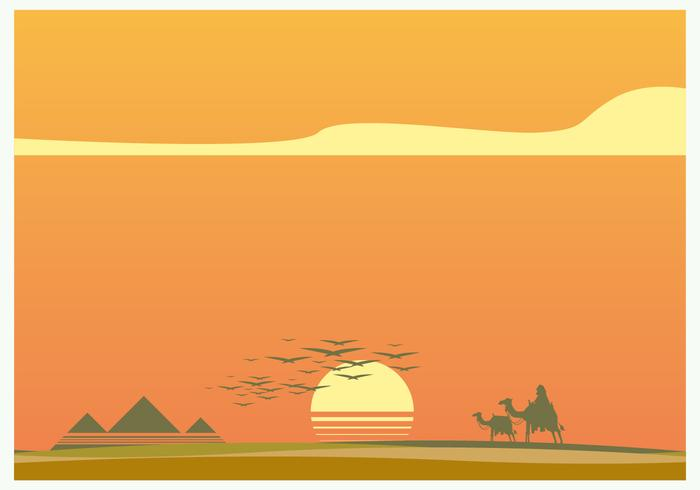 Coucher de soleil dans le vecteur piramide
