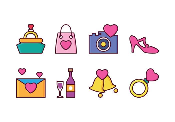 Ensemble d'icônes de mariage gratuit vecteur