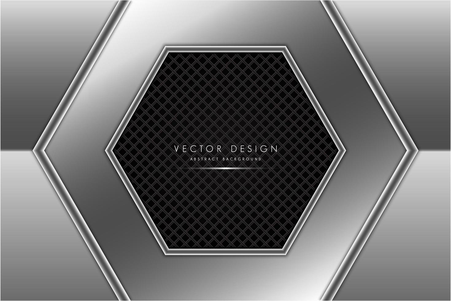 forme hexagonale gris métallique avec texture en fibre de carbone vecteur