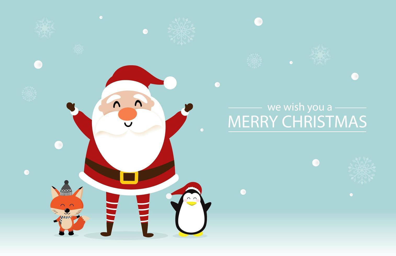 conception de Noël avec joli père noël, renard, pingouin vecteur