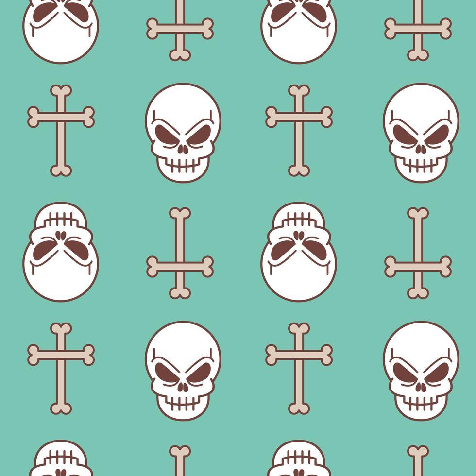 crâne et croix en os vecteur