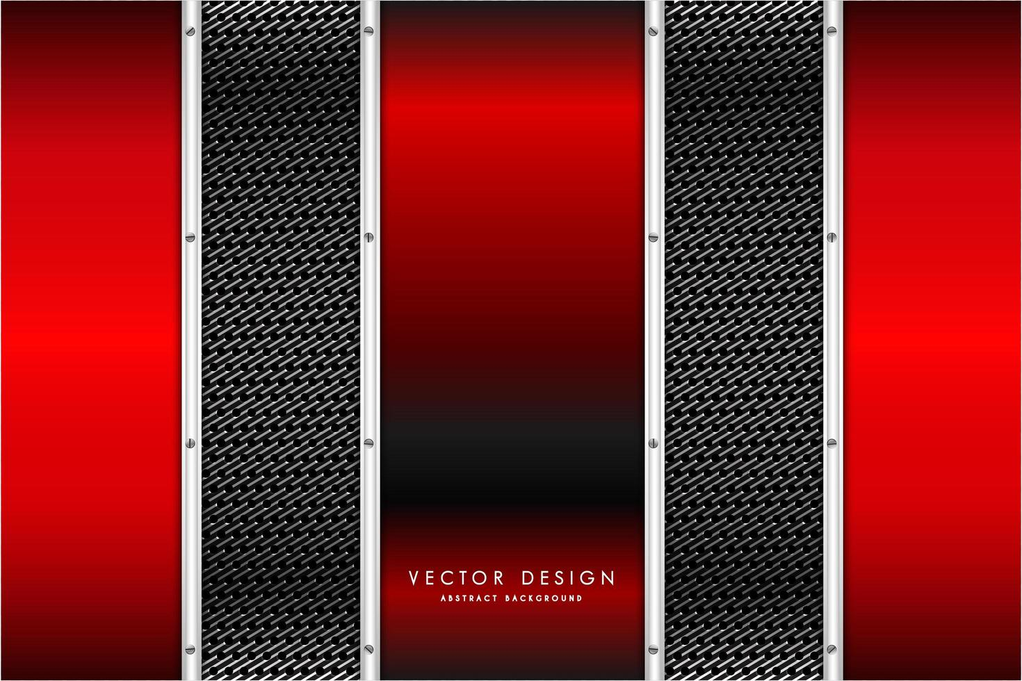 panneaux verticaux rouges métalliques sur la texture en fibre de carbone vecteur