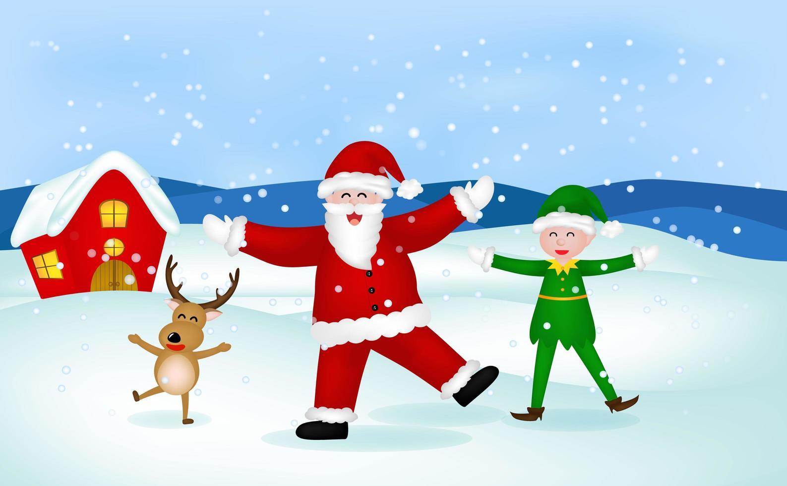 père noël, renne et elfe dans la scène de neige de noël vecteur