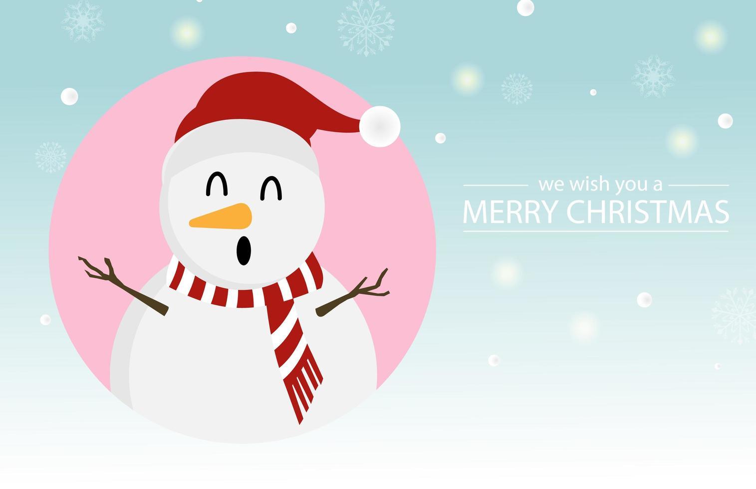 conception de noël avec joli bonhomme de neige vecteur