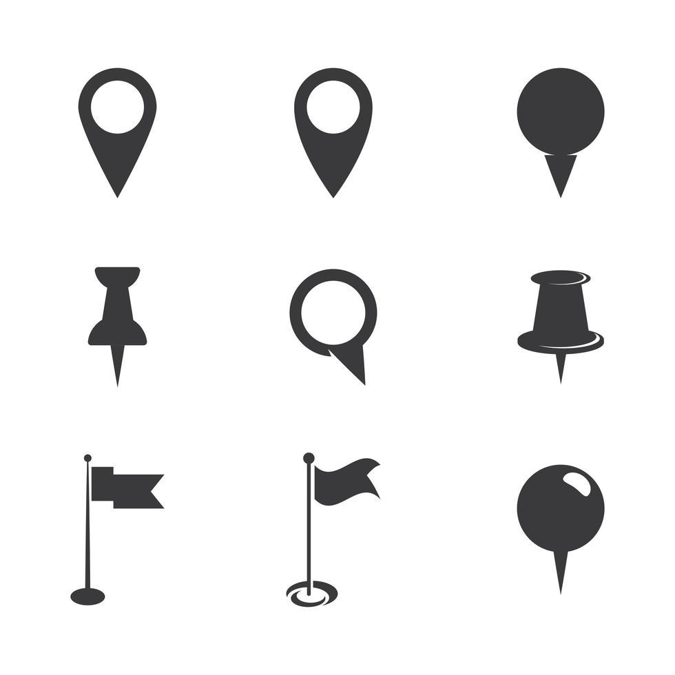 jeu d'icônes de point de localisation vecteur