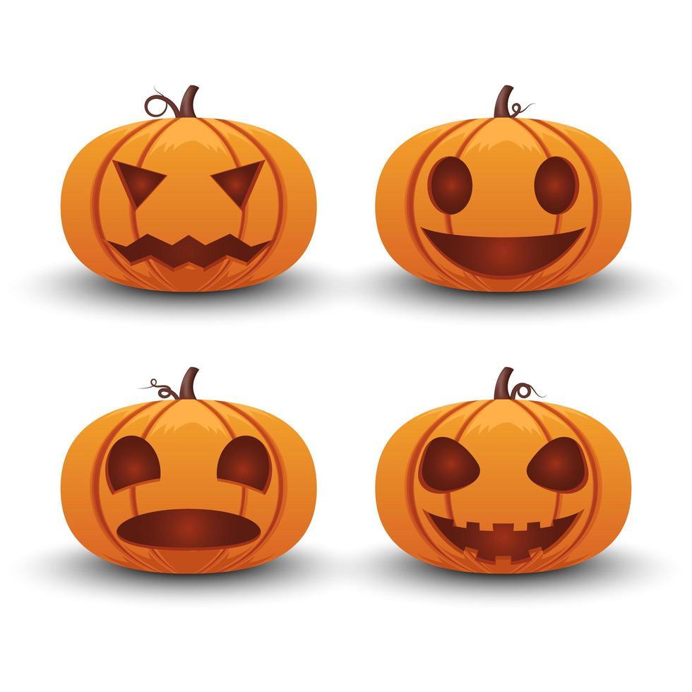 citrouille, émotion différente, halloween, ensemble vecteur