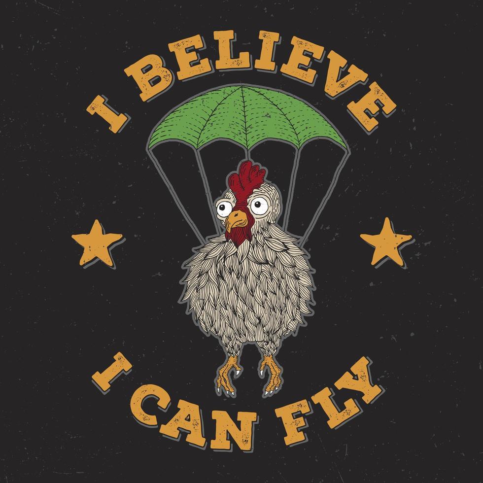 poulet avec conception de t-shirt parachute vecteur