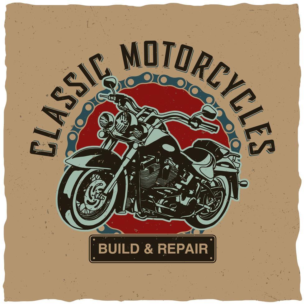 conception de t-shirt de motos classiques vecteur