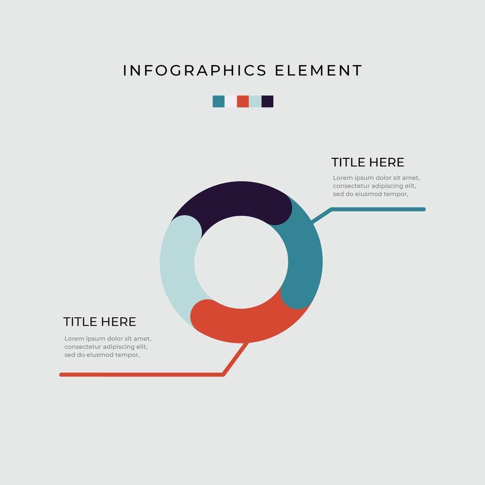 infographie de diagramme circulaire à deux options vecteur