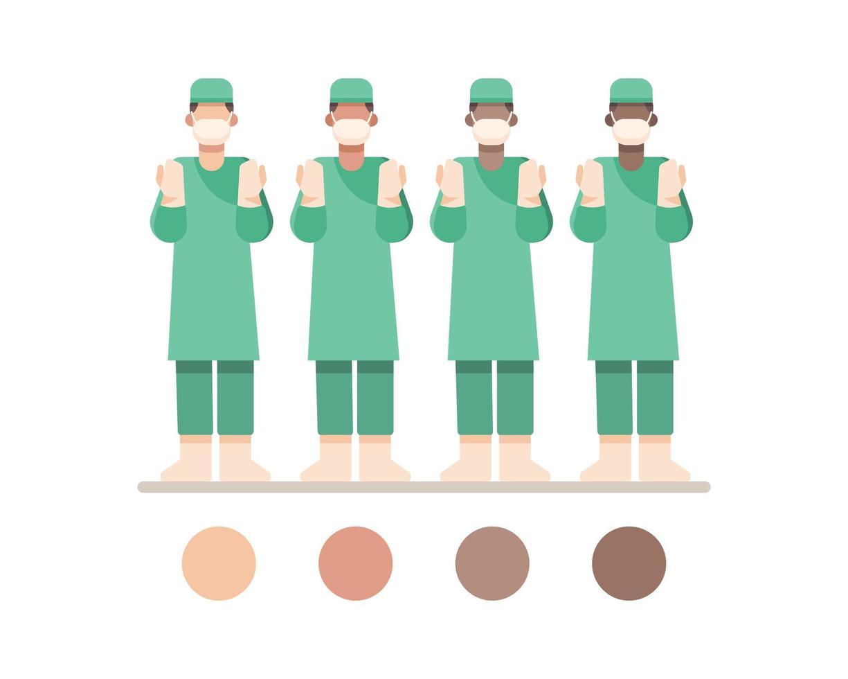 Caractères masqués de médecin de chirurgie masculine vecteur
