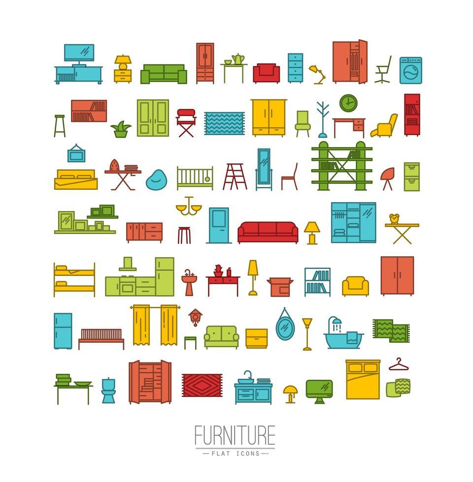 icônes plats de meubles colorés vecteur