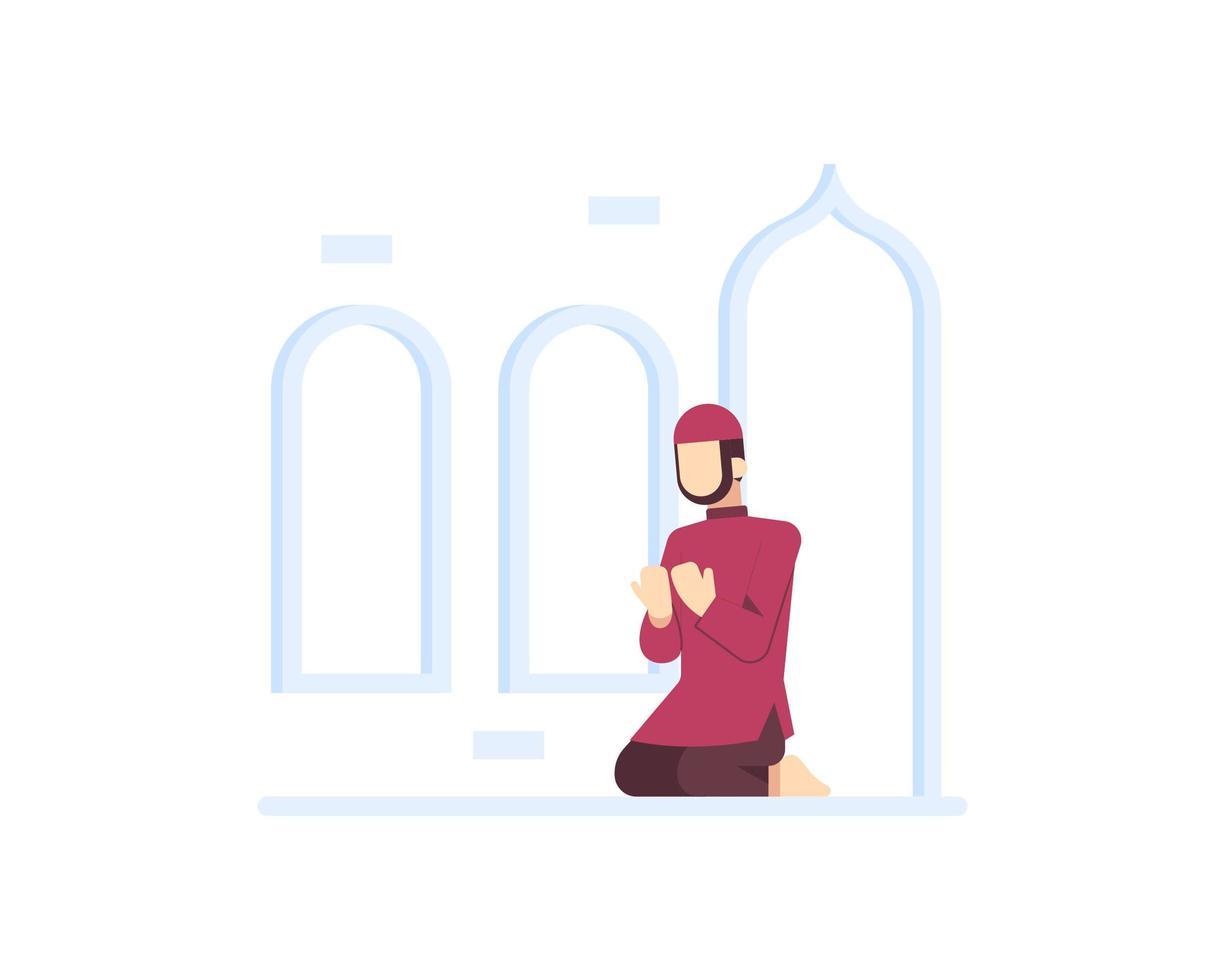 homme musulman prie à la mosquée vecteur
