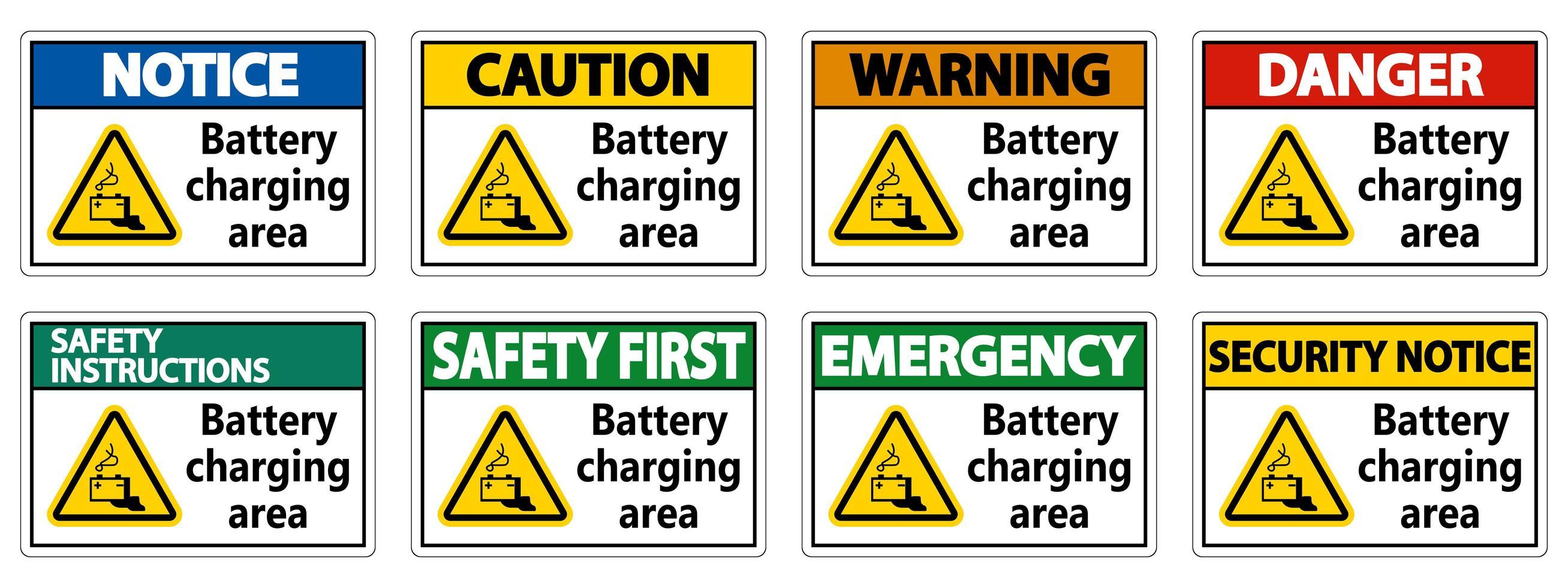 ensemble de signes de la zone de charge de la batterie vecteur