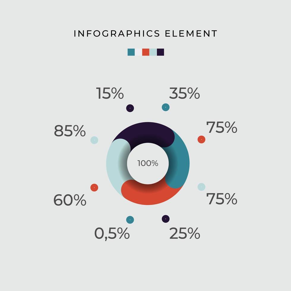huit options de diagramme de cercle de pourcentage infographique vecteur