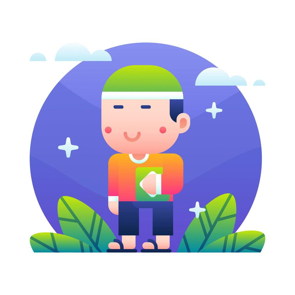 dessin animé mignon enfant musulman tenant le coran vecteur