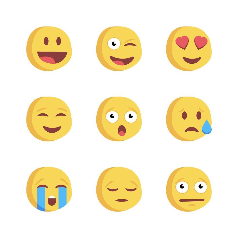 icônes de réactions de réseau social emoji vecteur