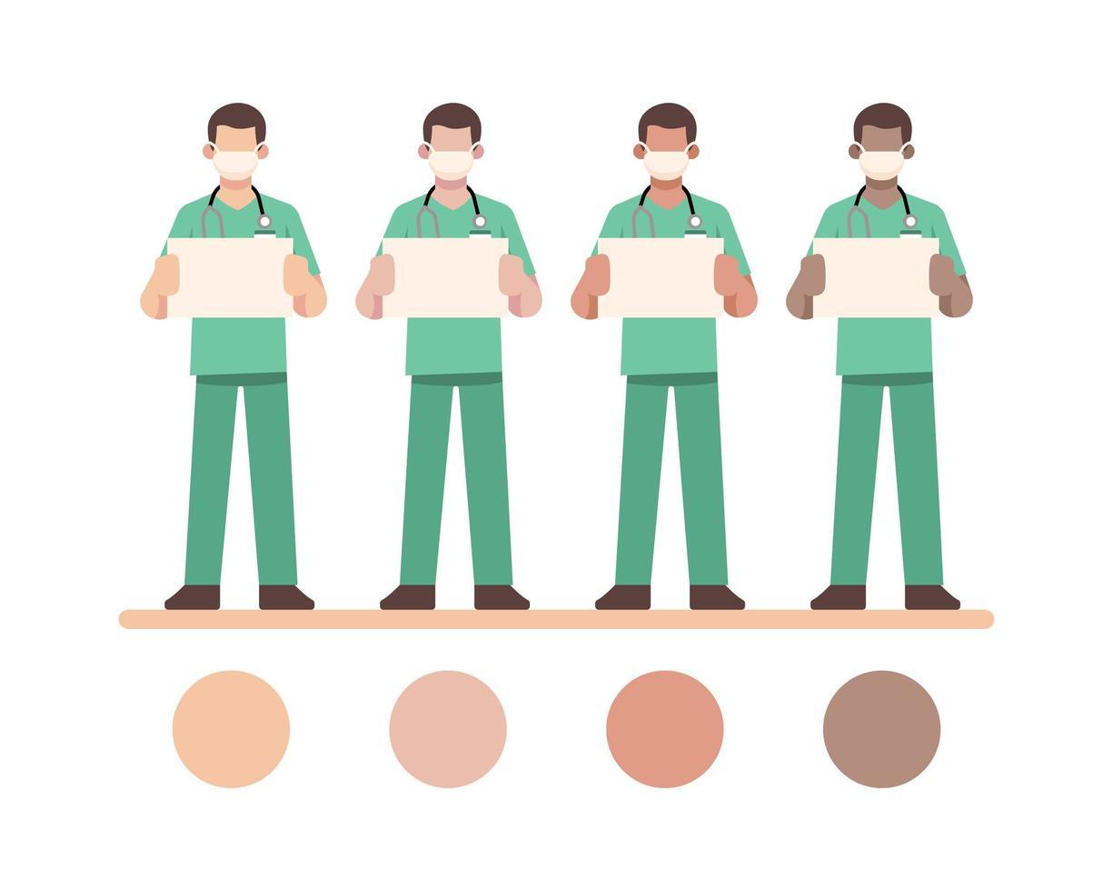 masqué, infirmière, caractères, tenue, blanc, tableau blanc vecteur