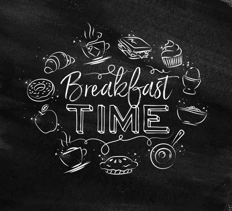 signe de l'heure du petit déjeuner dans un style craie vecteur